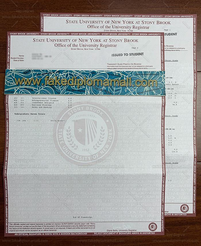 Stony Brook University Fake Transcript