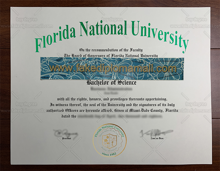Florida National University Fake Diploma, FNU Diploma, FNU Degree Certificate