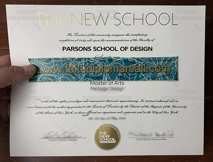 The New School Fake Diploma, Parsons School of Design MA Degree