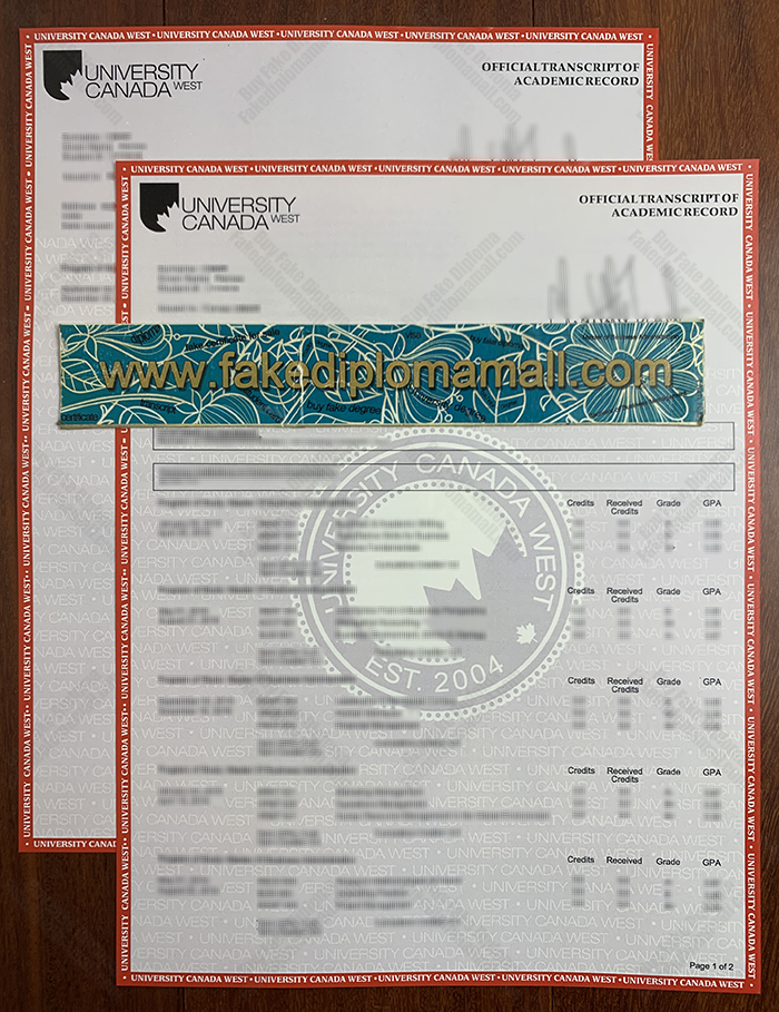 UCW Official Transcript, University Canada West Fake Transcript